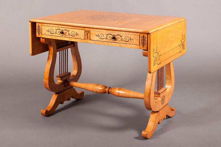 Table bureau à volets charles érable moucheté u galerie